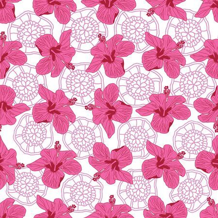 Pink Hibiscus Lace -Flowers in Bloom Seamless Repeat Pattern. Hibiscus flowers and lace pattern background in pink, red and white. Perfect for Fabric, Scrapbook