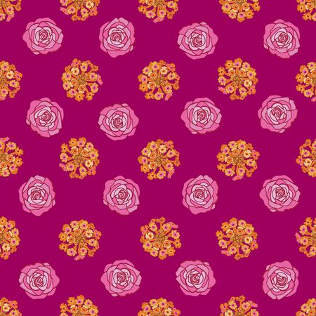 Lantana Rose Lines-Flowers in Bloom Seamless Repeat Pattern. Lantana, rose flowers pattern background in pink,yellow,maroon and orange. Surface pattern Design. Perfect for Fabric, Scrapbook,wallpaper