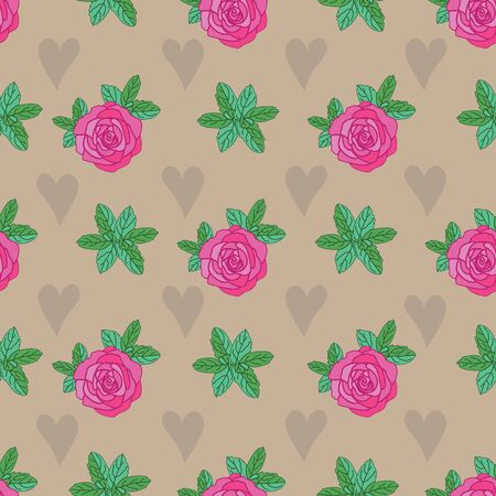 Rose Hearts -Flowers in Bloom seamless repeat pattern. Rose flowers and hearts and leaves pattern background pink,green,cream and brown. Surface pattern design. Perfect for Fabric, Scrapbook,wallpaper Иллюстрация