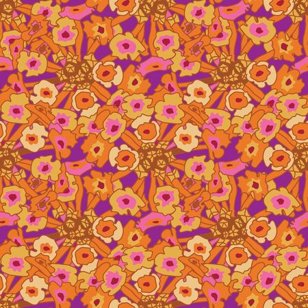 Lantana Abstract-Flowers in Bloom Seamless Repeat Pattern. Lantana flowers and leaves pattern background in in orange, pink yellow and purple. Surface pattern design. Perfect for Fabric, Scrapbook,wallpaper Иллюстрация