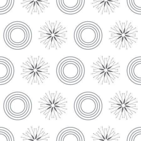 Fresh Snow-Geometric Modern Flowers Seamless repeat pattern background. Abstract snow flakes surface pattern design in black and white . Perfect for Fabric, Scrapbook, wallpaper Stock Illustratie