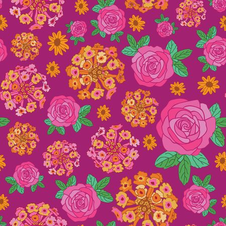 Lantana Rose Dream-Flowers in Bloom Seamless Repeat Pattern. Lantana, rose flowers and leaves pattern background in pink,yellow,orange,Maroon and green. Surface pattern Design. Perfect for Fabric, Scrapbook,wallpaper Иллюстрация