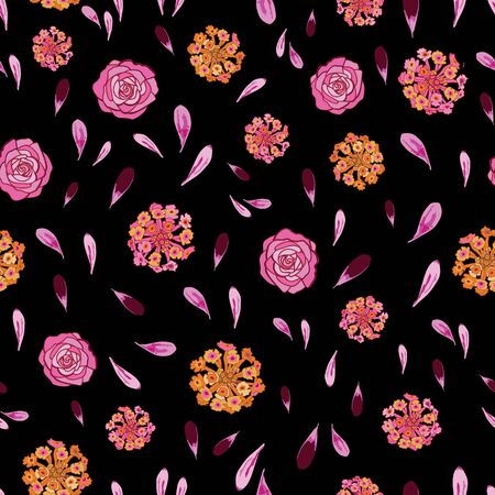 Lantana Rose Petals-Flowers in Bloom Seamless Repeat Pattern. Lantana rose and flower petals pattern background in pink,orang,yellow,maroon and black. Surface pattern design. Perfect for Fabric, Scrapbook,wallpaper Иллюстрация