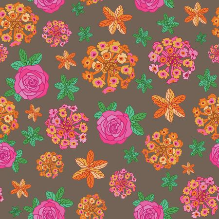Lantana Rose Mint-Flowers in Bloom Seamless Repeat Pattern. Lantana rose and mint leaves pattern background in pink,orange,yellow,green,and brown. Surface pattern design. Perfect for Fabric, Scrapbook,wallpaper