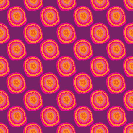 Colourful Buttons-Flowers in Bloom seamless repeat pattern. Colourful abstract buttern shaped flowers Pattern Background in pink, orange,and purple . Surface pattern design. Perfect for Fabric, Scrapbook