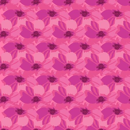 Cosmos Harmony-Flowers in Bloom seamless repeat pattern. Fresh Abstract cosmos flower shapes pattern background in pink and maroon. Surface pattern design. Perfect for Fabric, Scrapbook,wallpaper