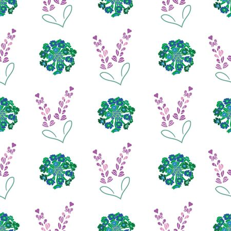 Lavender Lantana Hearts-Flowers in Bloom seamless repeat pattern. Fresh Abstract Lavender Lantana and hearts shapes pattern background in green purple and white. Surface pattern design. Perfect for Fabric, Scrapbook,wallpaper