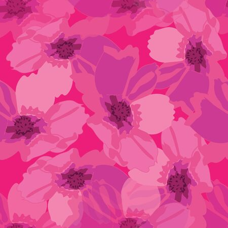 Cosmos Abstract-Flowers in Bloom seamless repeat pattern. Fresh Abstract cosmos flower shapes pattern background in pink and maroon. Surface pattern design. Perfect for Fabric, Scrapbook,wallpaper