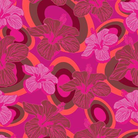 Hibiscus Fluorescent-Flowers in Bloom Seamless Repeat Pattern. Hibiscus and Fluorescent flowers vibrant pattern background design in pink,maroon and orange. Surface pattern design. Perfect for fabric, scrapbook,wallpaper