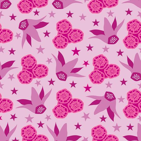 Cyclamen & Lace Flowers -Flowers in Bloom Seamless repeat pattern. Cyclamen flowers and lace flowers pattern background in pink and purple. Surface pattern design. Perfect for Fabric, Scrapbook,wallpaper