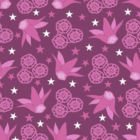 Purple Lace Cyclamen -Flowers in Bloom Seamless repeat pattern.Cyclamen flowers lace and stars pattern background in purpel pink maroon and white. Surface pattern design. Perfect for Fabric, scrapbook,wallpaper Иллюстрация