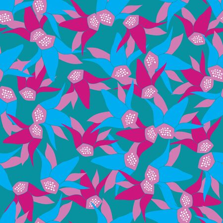 Festive Cyclamen -Flowers in Bloom Seamless Repeat pattern. Cyclamen flowers pattern background. Vibrant floral repeat pattern in pink blue and green. Surface pattern design. Perfect for fabric, scrapbook,wallpaper Иллюстрация