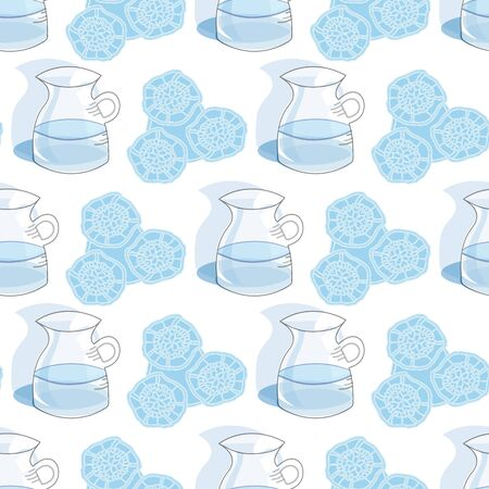 Lace & Ice Water-Garden Tea Party, Seamless repeat pattern design. Fresh pattern background of delicate water Jug and Abstract lace in light blue and white. Perfect for fabric, Scrapbook,gift wrapping paper. Vectores