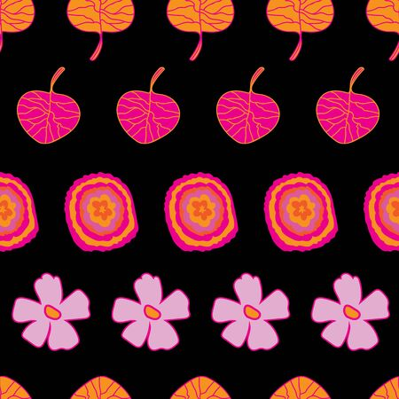 Garden Colours-Flowers in Bloom Seamless Repeat Pattern. Abstract flowers and leaves vivid pattern background design in pink, orange,yellow and black . Surface pattern design. Perfect for Fabric, Scrapbook Иллюстрация