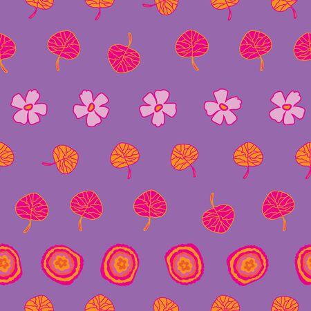 Colour field-Flowers in Bloom seamless repeat pattern. Vibrant flowers and leaves Pattern Background in pink, orange,and purple . Surface pattern design. Perfect for Fabric, Scrapbook