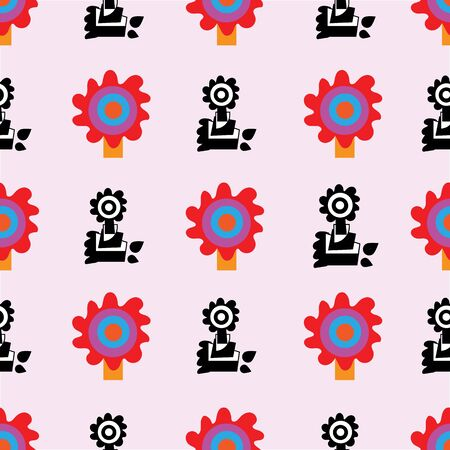 Sunflower Stamps-Geometric Modern Flowers Seamless repeat pattern background. Abstract flowers and stamps surface pattern design in black,red,yellow,blue and white . Perfect for fabric, scrapbook, wallpaper