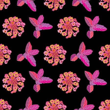 Lantana Mint -Flowers in Bloom seamless repeat pattern. Vibrant Abstract Lantana and mint leaves pattern background in purple,pink,orange,yellow and black. Surface pattern design. Perfect for fabric, scrapbook,wallpaper
