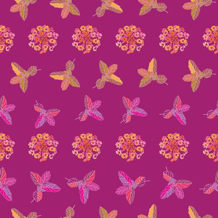 Lantana Mint Lines -Flowers in Bloom seamless repeat pattern. Vibrant Abstract Lantana and mint leaves pattern background in purple,pink,orange,yellow and maroon. Surface pattern design. Perfect for fabric, scrapbook,wallpaper