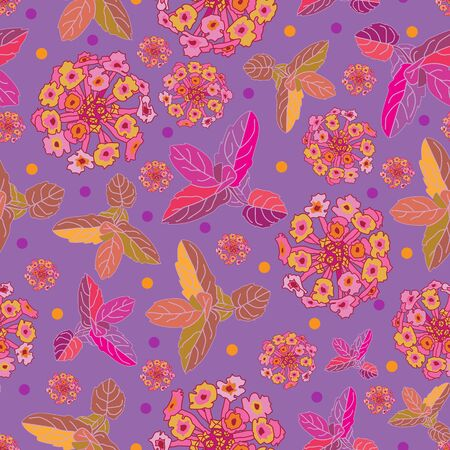 Lantana Festival -Flowers in Bloom seamless repeat pattern. Vibrant Abstract Lantana and mint leaves pattern background in purple,pink,orange, yellow and maroon. Surface pattern design. Perfect for fabric, scrapbook,wallpaper Иллюстрация