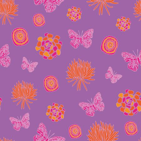 Butterfly Dream-Butterfly Garden,seamless repeat pattern of butterflies, succulents and flowers in yellow,orange,pink and purple. Modern pattern background. Perfect for Fabric, Scrapbook, wallpaper.