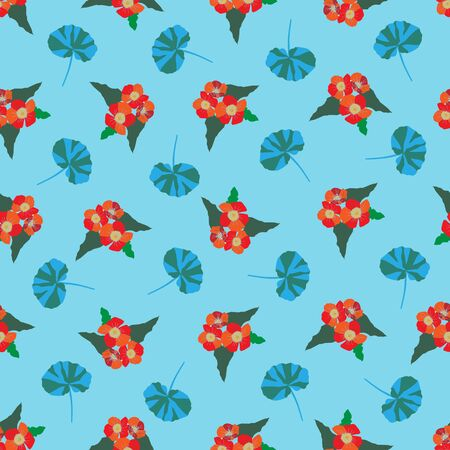 Red Blossom-Flowers in Bloom Seamless Repeat Pattern. Fresh colourful flowers pattern background in red,yellow,,orange,green and blue. Surface pattern design. Perfect for fabric, scrapbook,wallpaper