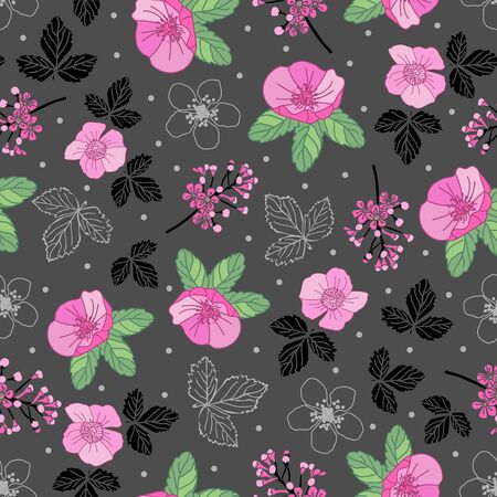 Garden s Collection-Flowers in Bloom seamless repeat pattern Background in pink,green, black gray. Almond tree flowers buds illustration background. Perfect for Fabric, Scrapbook,wallpaper