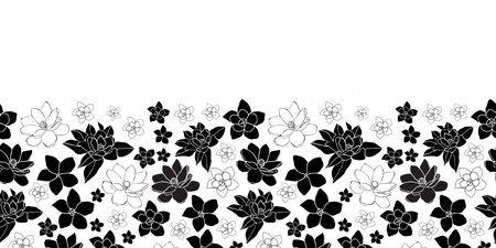 Plumeria and Magnolia Border -Flowers in Bloom seamless repeat pattern Background in Black and White. Delicate Pattern Background. Surface pattern Design, Perfect for Fabric, Scrapbook, wallpaper. Vector Illustration