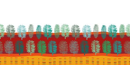 Forest at Noon Border-Virgin Forest seamless repeat pattern Border pattern of modern fern shapes lines in red green blue petrol,yellow and orange .Perfect for fabric, scrapbook,wallpaper.