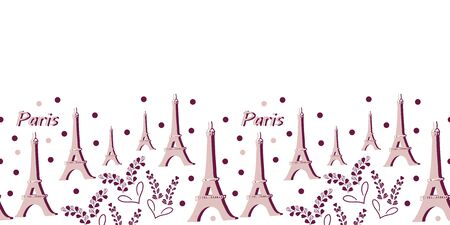 Eiffel tower and Lavender Flowers Border-Love in Parise. Eiffel tower and Lavender pattern background in pink and purple colors .Romantic pattern background. Perfect for Fabric, Scrapbook, wallpaper. Illustration