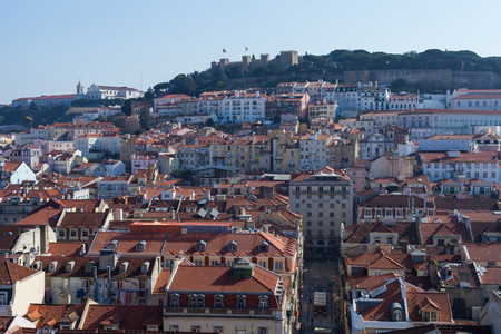 justa: view of Lisbon from Santa Justa Elevator (Portugal)