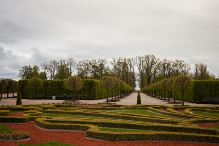 rundale: Rundale Palace park. It was constructed in the 1730s to a design by Bartolomeo Rastrelli. Latvia