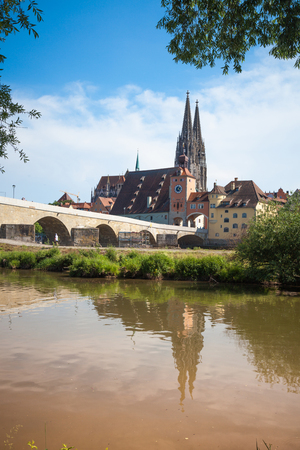 Regensburg is a city in south-east Germany, situated at the confluence of the Danube, Naab and Regen rivers Stock Photo