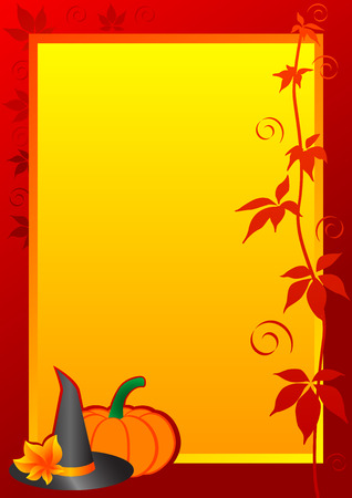 Autumn Frame with pumpkin and witch hat for Halloween. Vector illustration.