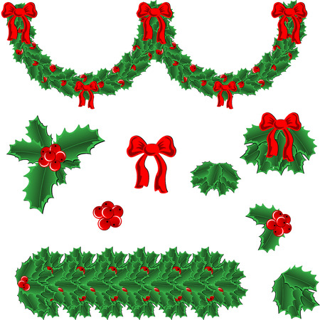 One vector garland and frame's elements for holly christmas decoration Ilustração