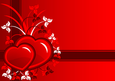 Beautiful vector composition of red hearts and leaf Vector