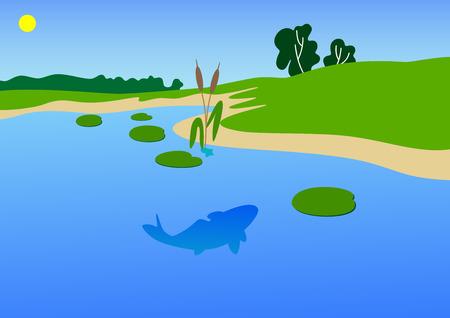 La imagen vectorial de una costa de un río con un día de verano