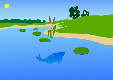 The vector image of a coast of a river with a summer day