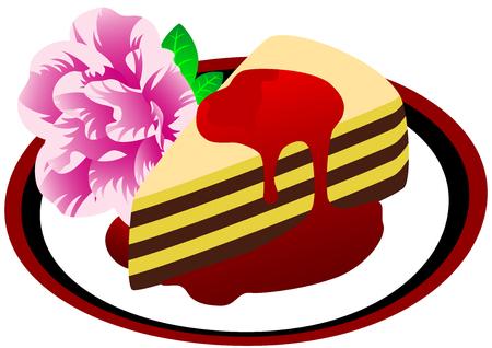 porcion de torta: Una pieza de dulce de la torta y flor rosa en el plato, aislada. Ilustraci�n vectorial