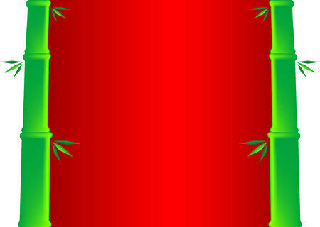Red background with bamboo canes and leaves. illustration. Vector