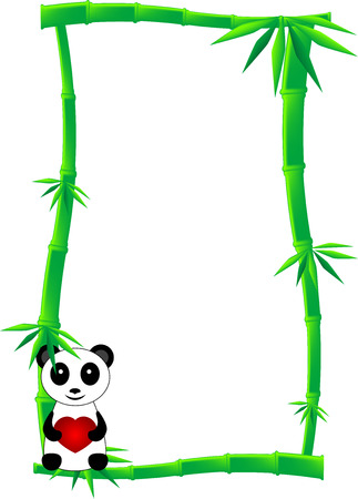Banner or label of green bamboo canes and one black and white panda bear with heart, isolated Vector