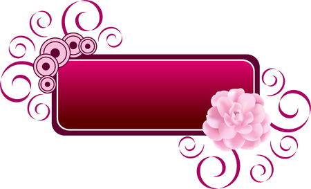 Decorative banner or label illustration with fresh pink flower, isolated. Vector illustration. Vector