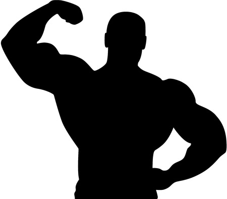 muscle training: Vector Silhouette of a young Athlete, isolated. Sport illustration.