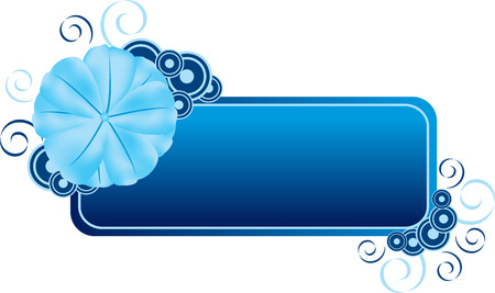 vectorial: Decorative banner or label illustration with blue flower