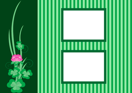 verdant: Beautiful border for pictures with clover, vector illustration