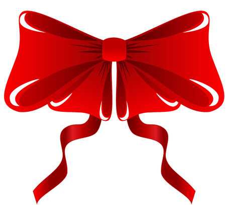 Illustration of a festive red bow, isolated Vector