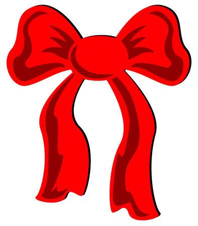 lazo regalo: Ilustraci�n de un arco rojo festivo, aislado