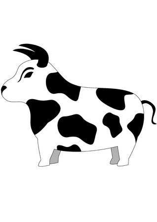 cartoon illustration with cute funny bull, isolated Stock Vector - 6552037