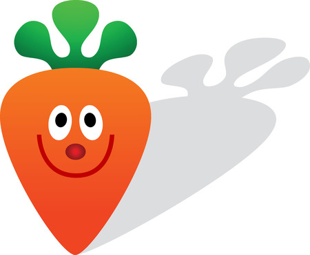 сделанный со вкусом: A cartoon carrot with a silly smile, isolated. Vector illustration Иллюстрация