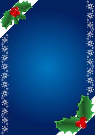 Christmas Background - Hollies and snowflake. Vector illustration