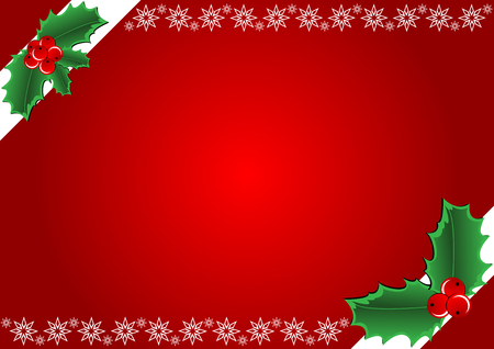 Christmas Background - Hollies and snowflake. illustration Stock Vector - 6636392